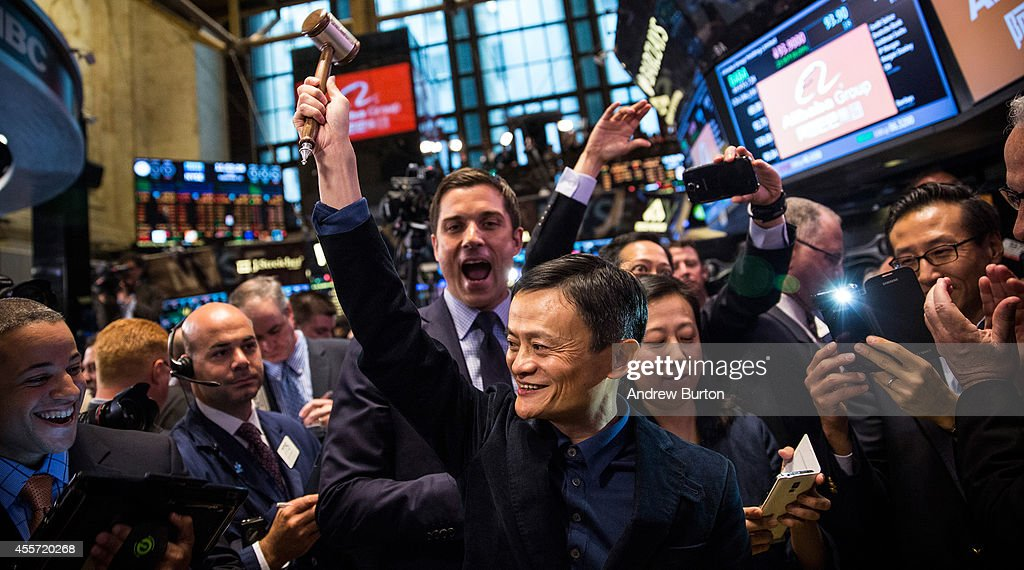 Founder and Executive Chairman of Alibaba Group <a gi-track='captionPersonalityLinkClicked' href=/galleries/search?phrase=Jack+Ma&family=editorial&specificpeople=2110288 ng-click='$event.stopPropagation()'>Jack Ma</a> celebrates as the Alibaba stock goes live during the company's initial price offering (IPO) at the New York Stock Exchange on September 19, 2014 in New York City. The New York Times reported yesterday that Alibaba had raised $21.8 Billion in their initial public offering so far.