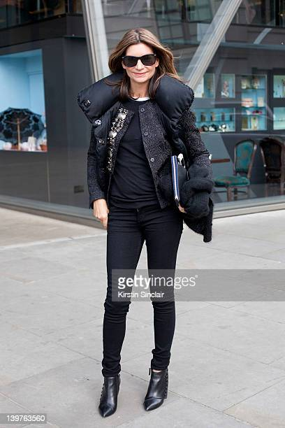 Founder and Executive Chairman of Net a Porter Natalie Massenet street style at London fashion week autumn/winter 2012 womenswear shows on February...