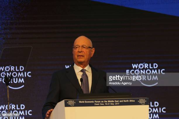 Founder and executive chairman of the World Economic Forum Klaus Schwab delivers a speech during the World Economic Forum regional meeting in Amman...