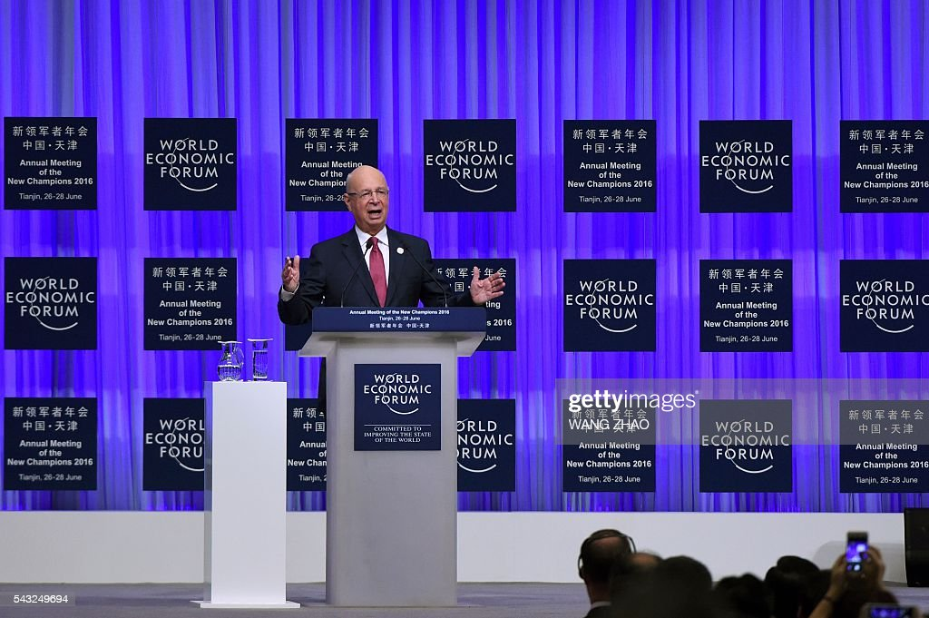 Founder and executive chairman of the World Economic Forum, Klaus Schwab, speaks on the first day of the World Economic Forum in Tianjin on June 27, 2016. The annual World Economic Forum New Champions meeting brings together business, economic and political leaders. / AFP / POOL / WANG