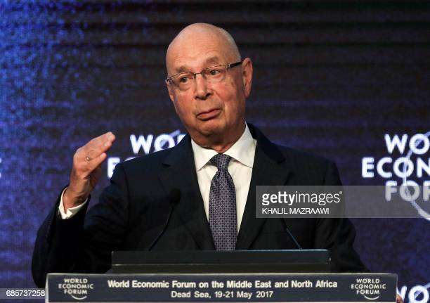 Founder and Executive Chairperson of the World Economic Forum Klaus Schwab speaks on the stage during the opening session of the World Economic Forum...
