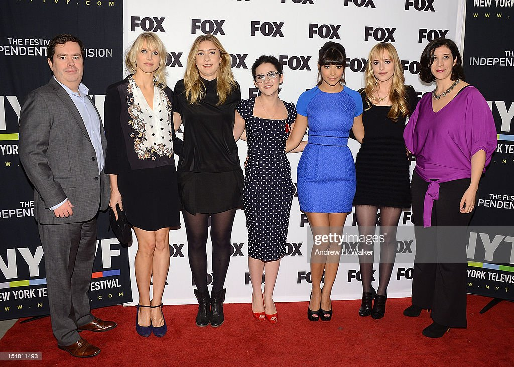 Founder and executive director of New York Television Festival Terence Gray, Lucy Punch, Elizabeth Meriwether, Shannon Woodward, Hannah Simone, Dakota Johnson and Entertainment Weekly's Jessica Shaw attend a Salute To FOX Comedy on October 26, 2012 in New York City.