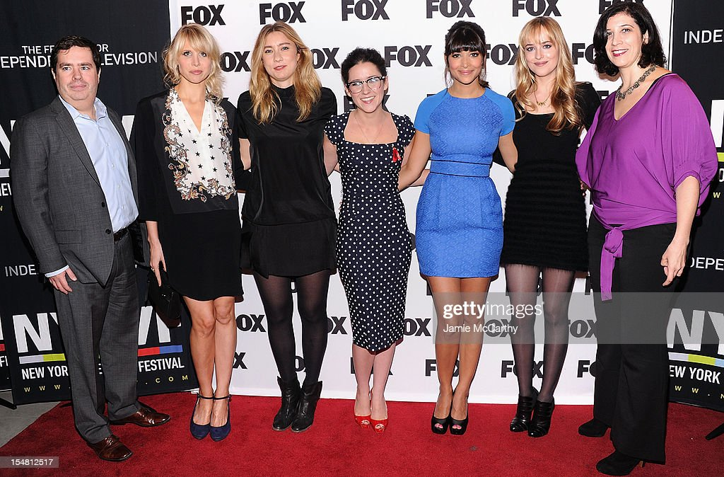 Founder and executive director of New York Television Festival Terence Gray, Lucy Punch, Elizabeth Meriwether, Shannon Woodward, Hannah Simone, Dakota Johnson and Entertainment Weekly's Jessica Shaw attend Fox's New Tuesday: A Comedy Conversation at 92Y Tribeca on October 26, 2012 in New York City.