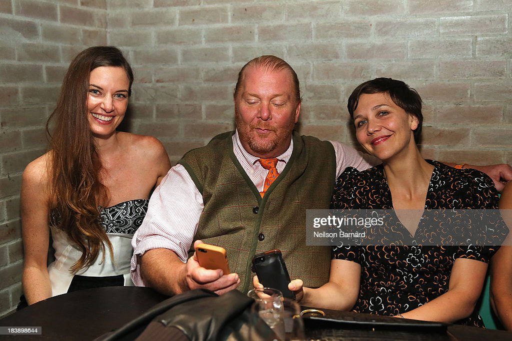Founder and Executive Director of The Lunchbox Fund Topaz Page-Green, <a gi-track='captionPersonalityLinkClicked' href=/galleries/search?phrase=Mario+Batali&family=editorial&specificpeople=669889 ng-click='$event.stopPropagation()'>Mario Batali</a> and <a gi-track='captionPersonalityLinkClicked' href=/galleries/search?phrase=Maggie+Gyllenhaal&family=editorial&specificpeople=202607 ng-click='$event.stopPropagation()'>Maggie Gyllenhaal</a> attend The Lunchbox Fund Fall Fête at Buddakan, New York on October 9, 2013 in New York City.