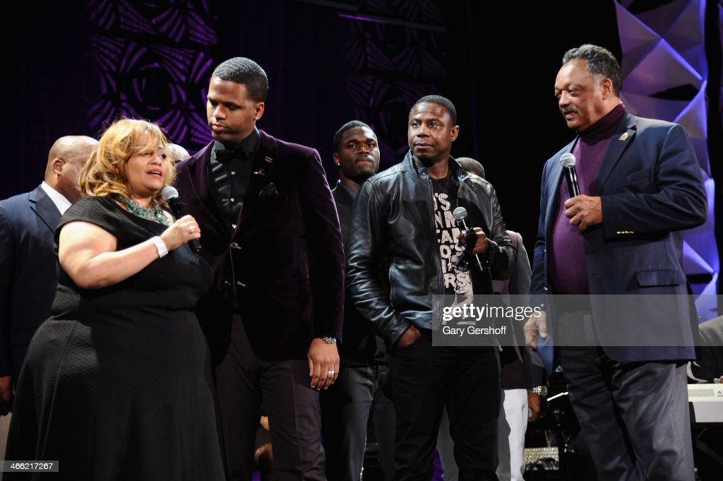 Founder and Executive Producer of the Super Bowl Gospel Celebration, Melanie Few-Harrison, A. J. Calloway, Doug E. Fresh and Jesse Jackson speak onstage at the Super Bowl Gospel Celebration 2014 at The Theater at Madison Square Garden on January 31, 2014 in New York City.