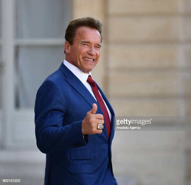 R20 founder and Former US Governor of California Arnold Schwarzenegger leaves after meeting with French President Emmanuel Macron at the Elysee...