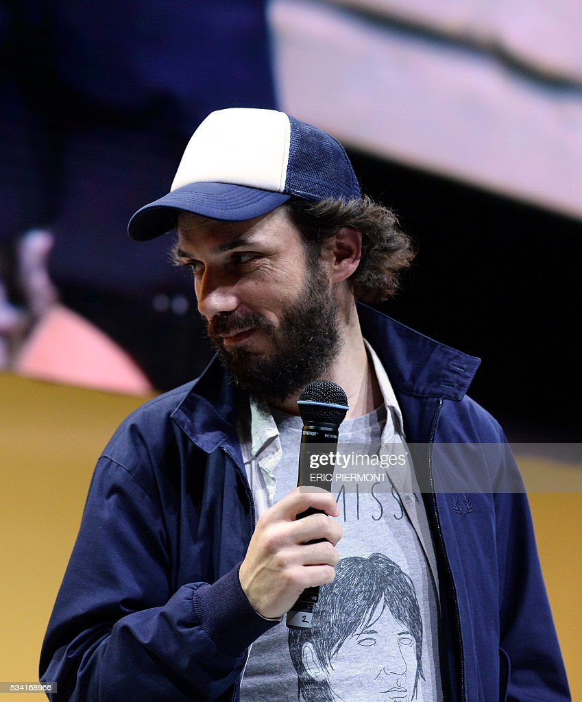Founder and head of French press group So Press Franck Annese delivers a speech during the second edition of the entrepreneurial event Bpifrance Inno Generation on the theme of 'Let's build together the world of tomorrow' at the AccorHotels Arena in Paris on May 25, 2016. / AFP / ERIC