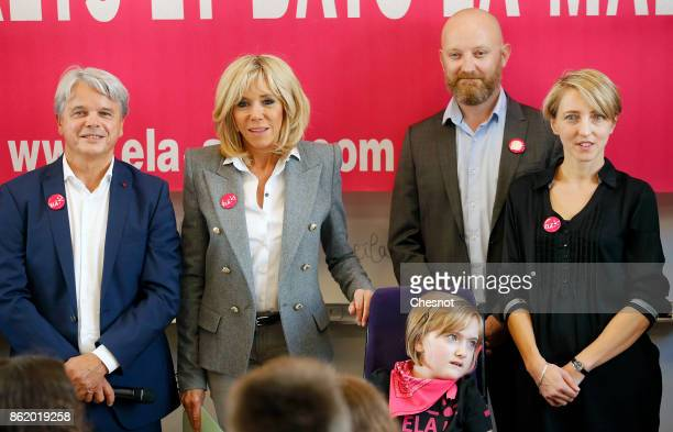 Founder and honorific president of ELA Guy Alba and Brigitte Macron the wife of the French president attend the launch of The European Leukodystrophy...