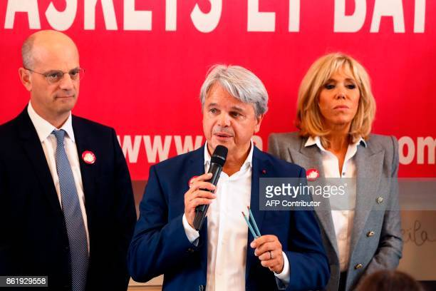 Founder and honorific president of the European Association against Leukodystrophy Guy Alba speaks flanked by French Education Minister JeanMichel...