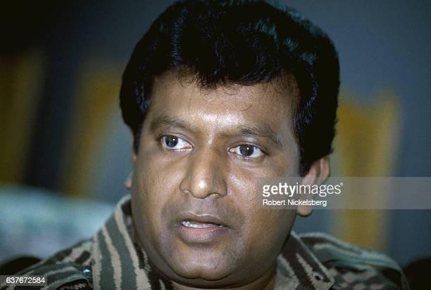 Founder and leader of the Liberation Tigers of Tamil Eelam Velupillai Prabhakaran speaks with Time magazine reporter Anita Pratap November 11994 in...