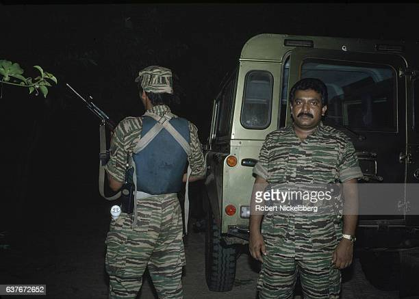 Founder and leader of the Liberation Tigers of Tamil Eelam Velupillai Prabhakaran on March 27 1990 in Jaffna Sri Lanka