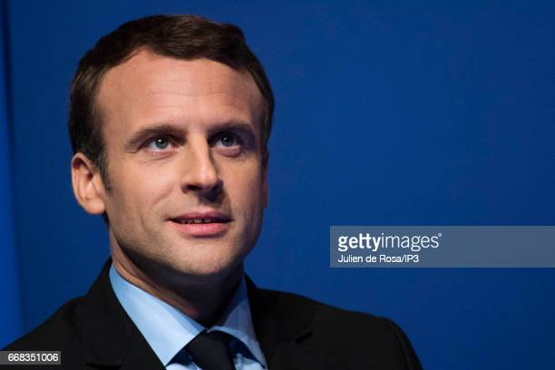 Founder and Leader of the political movement 'En Marche ' and candidate for the 2017 French Presidential Election Emmanuel Macron delivers a speech...