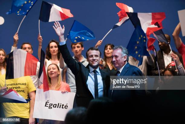 Founder and Leader of the political movement 'En Marche ' and candidate for the 2017 French Presidential Election Emmanuel Macron holds a meeting...