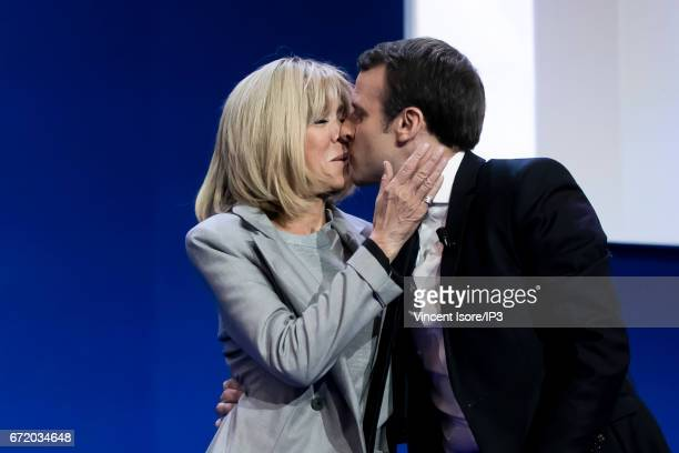 Founder and Leader of the political movement 'En Marche ' and presidential candidate Emmanuel Macron with his wife Brigitte Trogneux addresses...