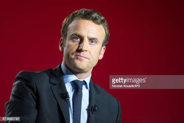 Founder and Leader of the political movement 'En Marche ' and presidential candidate Emmanuel Macron holds a meeting ahead of the second round of the...