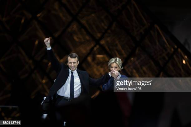 Founder and Leader of the political movement 'En Marche ' Emmanuel Macron elected new French President delivers a speech in front of thousands...