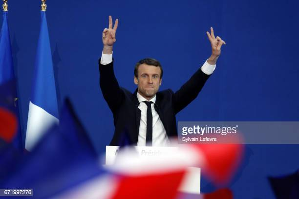 Founder and Leader of the political movement 'En Marche ' Emmanuel Macron speaks after projected results suggest that he has won the lead percentage...