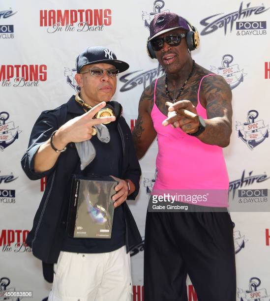Founder and managing partner of Fighter Interactive Brian Sadler and former NBA player Dennis Rodman arrive at the Sapphire Pool Day Club on June 15...