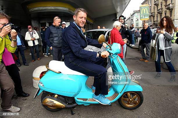 Founder and president of Italia Independent Lapo Elkann rides a Vespa during the presentation of Garage Italia Customs New Headquarters on October 7...