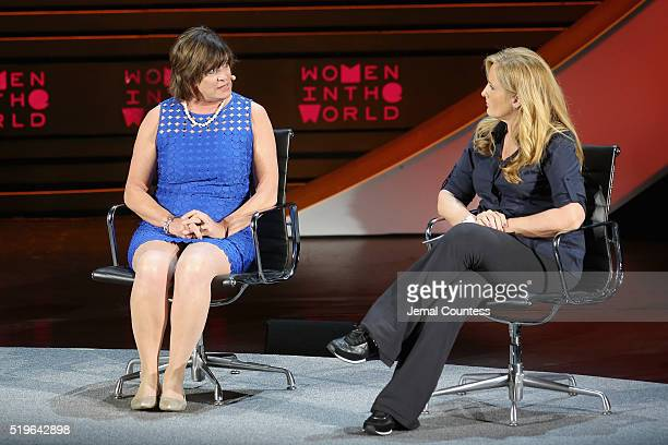 Founder and President of Specs4Us Maria Dellapina and news anchor Alex Witt speak onstage at Mother of Invention during Tina Brown's 7th Annual Women...