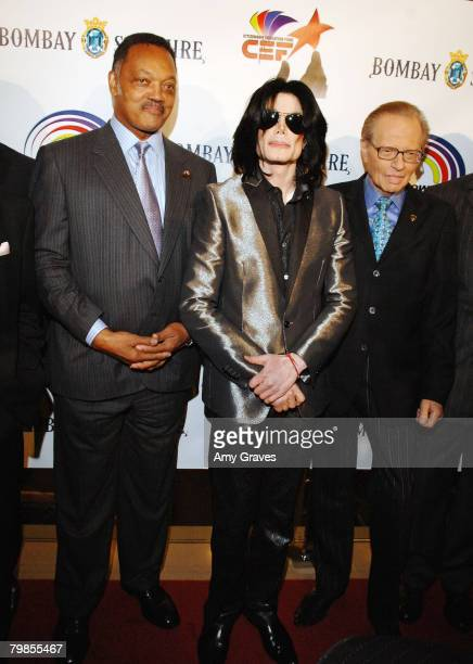 Founder and President of the Rainbow PUSH Coalition Reverend Jesse Jackson Sr and Singer Michael Jackson attend the VIP Cocktail Reception hosted by...