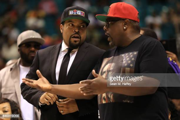 BIG3 founder and recording artist Ice Cube and Cedric the Entertainer attend the BIG3 three on three basketball league championship game on August 26...