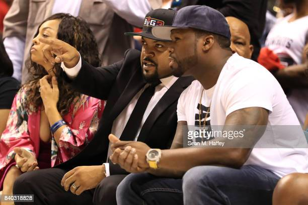 BIG3 founder and recording artist Ice Cube and Curtis '50 Cent' Jackson attend the BIG3 three on three basketball league championship game on August...