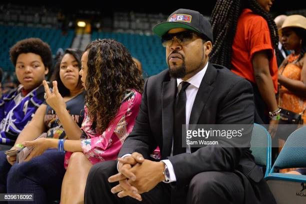BIG3 founder and recording artist Ice Cube looks on during the BIG3 three on three basketball league runnerup game on August 26 2017 in Las Vegas...