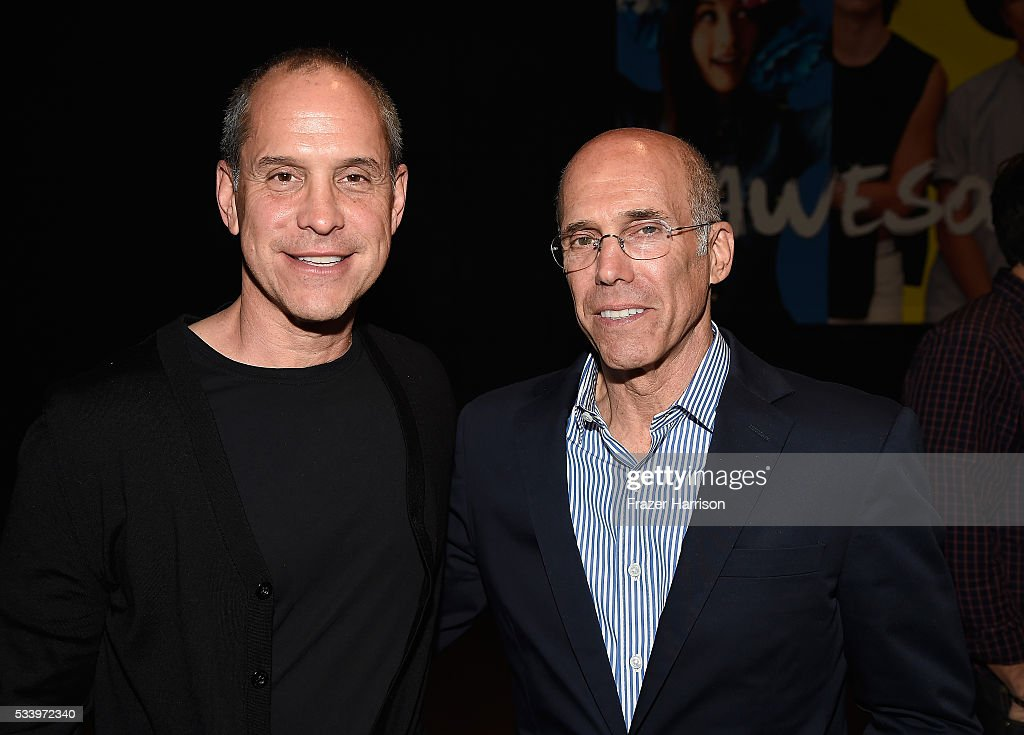 Founder & CEO AwesomenessTV Brian Robbins and Jeffrey Katzenberg (CEO, DreamWorks Animation) attemd Fast Company's Creativity Counter-Conference at the AwesomenessTV offices as part of the Santa Monica Fast Track. on May 24, 2016 in Los Angeles, California.