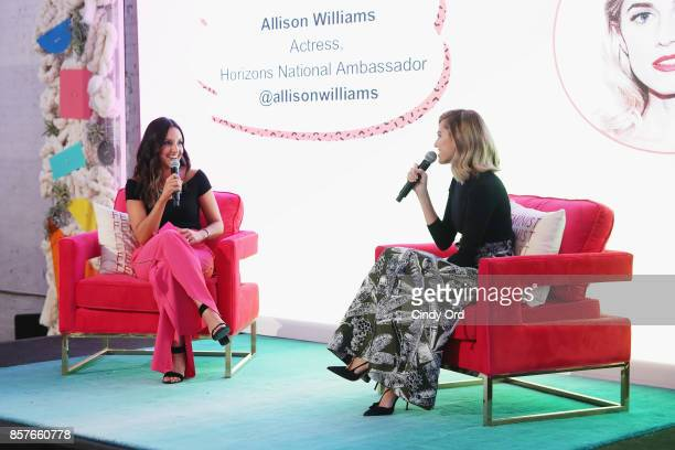 Founder CEO of Brit Co Brit Morin and Allison Williams speak onstage as Brit Co Kicks Off Experiential PopUp #CreateGood with Allison Williams and...