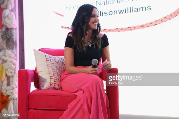 Founder CEO of Brit Co Brit Morin speaks onstage as Brit Co Kicks Off Experiential PopUp #CreateGood with Allison Williams and Daphne Oz at Brit Co...