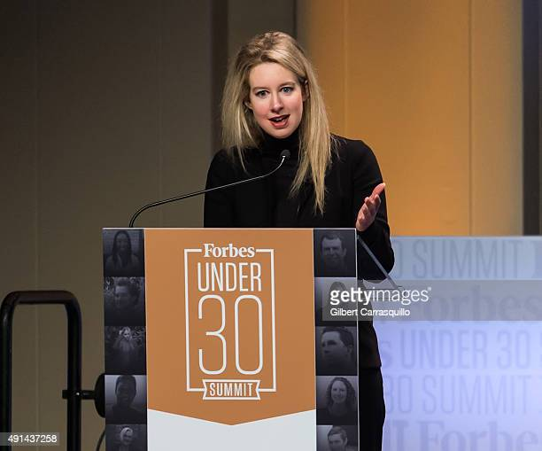 Founder CEO of Theranos Elizabeth Holmes attends Forbes Under 30 Summit at Pennsylvania Convention Center on October 5 2015 in Philadelphia...