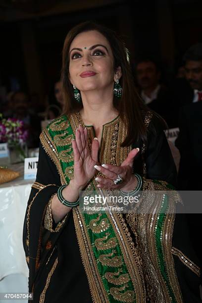 Founder Chairperson Reliance Foundation Nita Ambani during AIMA Managing India Awards 2015 on April 16 2015 in New Delhi India