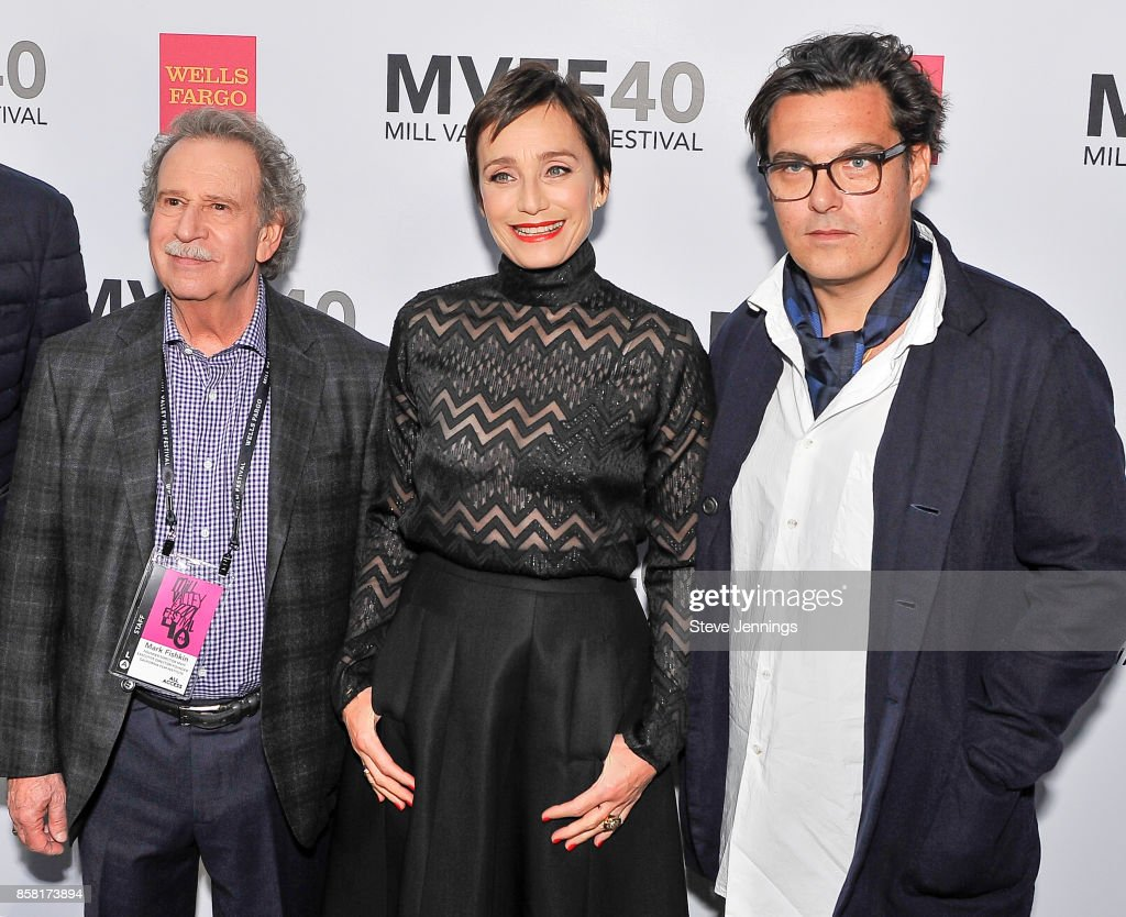 Founder & Director Mark Fishkin, Actress Kristin Scott Thomas and Director Joe Wright from the film 'Darkest Hour' attend the 40th Annual Mill Valley Film Festival at The Outdoor Art Club on October 5, 2017 in Mill Valley, California.