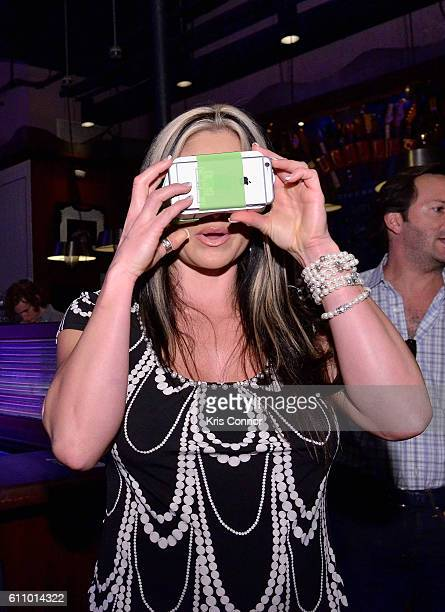Founder Gravity Jack Jennifer Richey wears a VR headset at the The Future of Employee Engagement panel at Lucille's at BB King during 2016...
