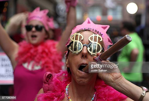 CODEPINK founder Medea Benjamin along with members of the activist group Code Pink demonstrate near the site of the Republican National Convention on...
