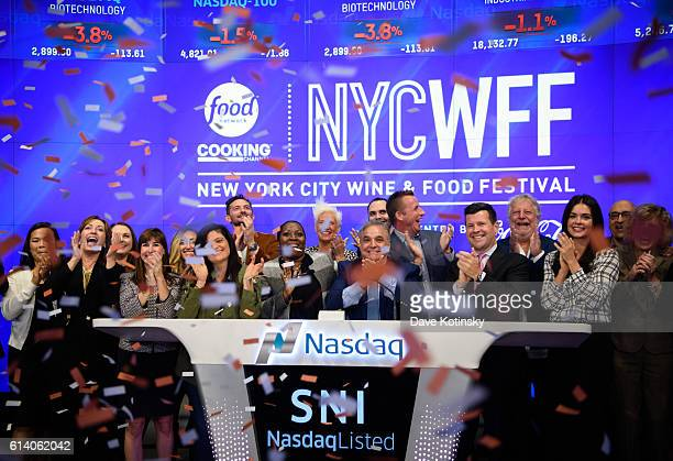 Founder NYWFF Lee Schrager Lee Schrager and Chefs Jonathan Waxman Marc Murphy Anne Burrell Dominique Ansel Alex Guarnaschelli Katie Lee and Gabriele...
