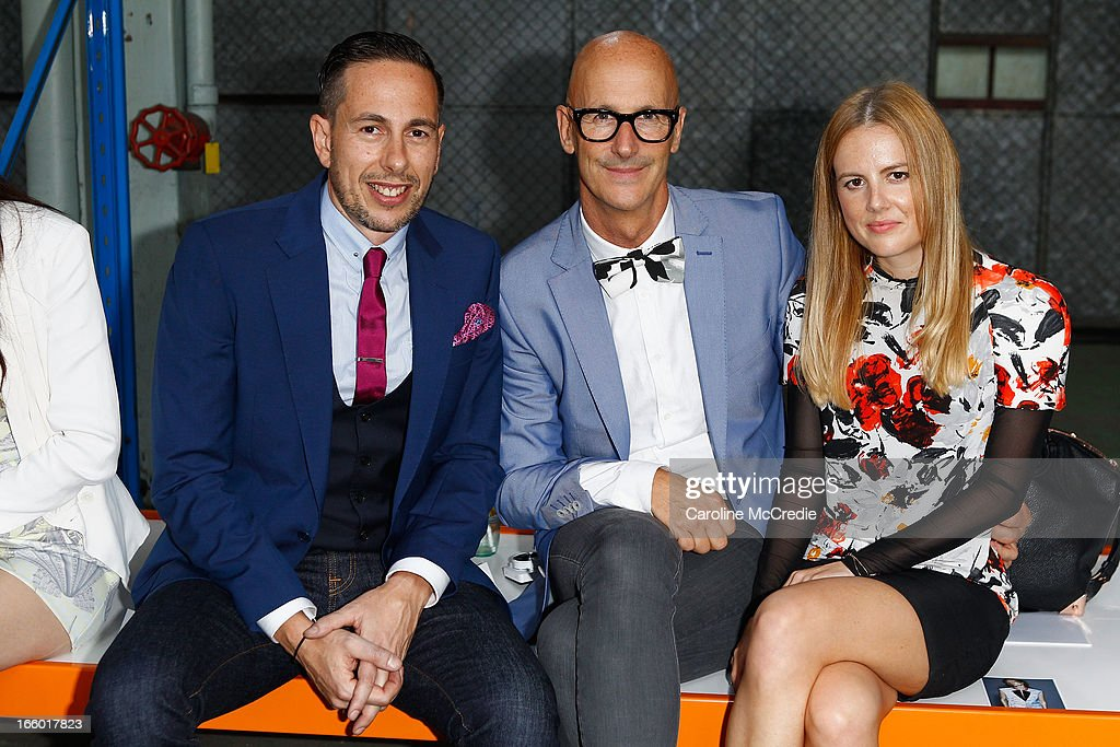 Founder of Australian Fashion Week <a gi-track='captionPersonalityLinkClicked' href=/galleries/search?phrase=Simon+Lock&family=editorial&specificpeople=220674 ng-click='$event.stopPropagation()'>Simon Lock</a> (C) attends the Christopher Esber show during Mercedes-Benz Fashion Week Australia Spring/Summer 2013/14 at 10 Carrington Rd, Marrickville on April 8, 2013 in Sydney, Australia.