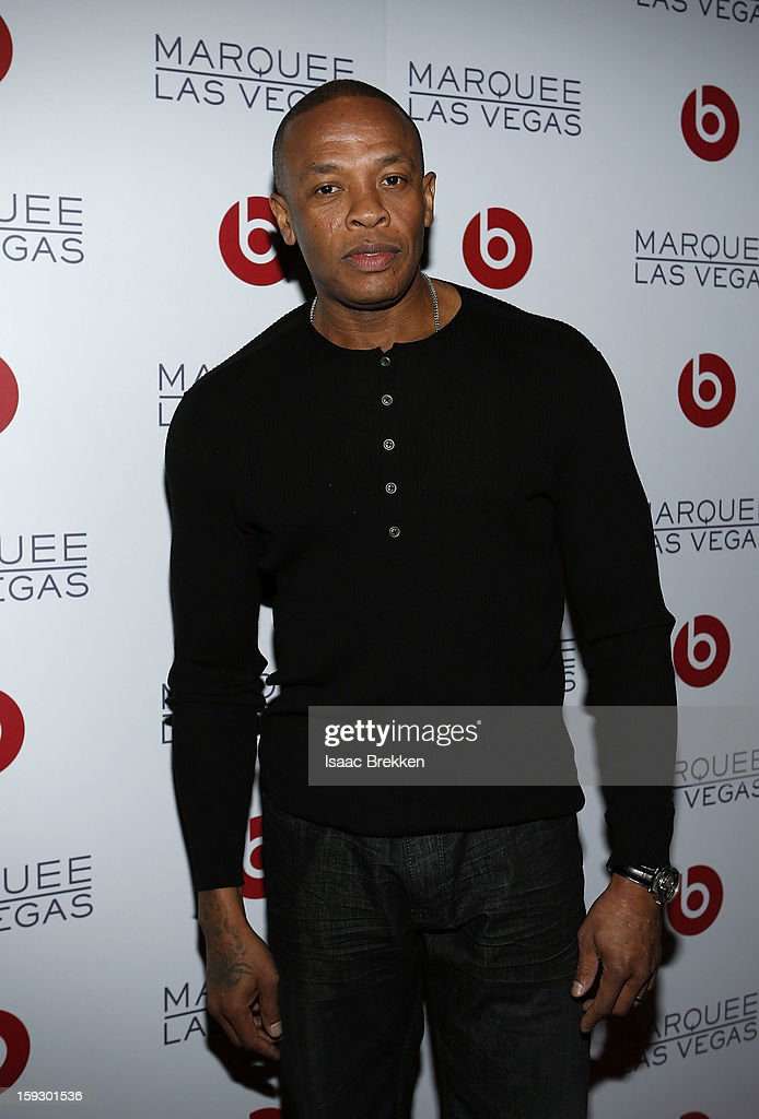 Founder of Beats Electronics, <a gi-track='captionPersonalityLinkClicked' href=/galleries/search?phrase=Dr.+Dre&family=editorial&specificpeople=211370 ng-click='$event.stopPropagation()'>Dr. Dre</a> arrives at the Beats by <a gi-track='captionPersonalityLinkClicked' href=/galleries/search?phrase=Dr.+Dre&family=editorial&specificpeople=211370 ng-click='$event.stopPropagation()'>Dr. Dre</a> CES after-party at the Marquee Nightclub at The Cosmopolitan of Las Vegas on January 10, 2013 in Las Vegas, Nevada.