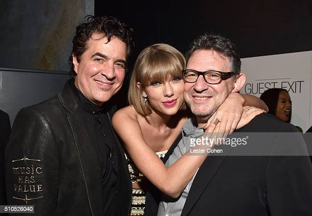 Founder of Big Machine Records Scott Borchetta singersongwriter Taylor Swift and CBE Chairman CEO UMG Lucian Grainge attend Universal Music Group...