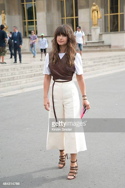 Founder of Buro 24/7 Miroslava Duma wears a Celine top and Hermes pants on day 3 of Paris Fashion Week Haute Couture Autumn/Winter 2015 on July 7...