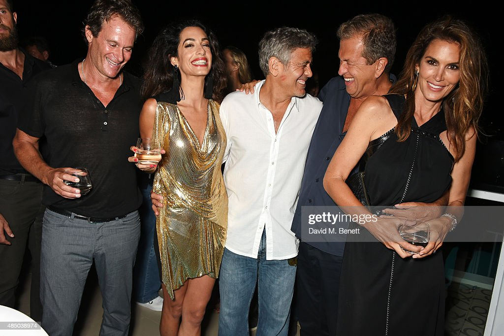 Founder of Casamigos Tequila Rande Gerber, Amal Clooney, Founder of Casamigos Tequila George Clooney, Mario Testino and Cindy Crawford attend as Casamigos founders Rande Gerber, George Clooney and Mike Meldman host the official launch of Casamigos Tequila in Ibiza and Spain at Ushuaia Ibiza Beach Hotel on August 23, 2015 in Ibiza, Spain.