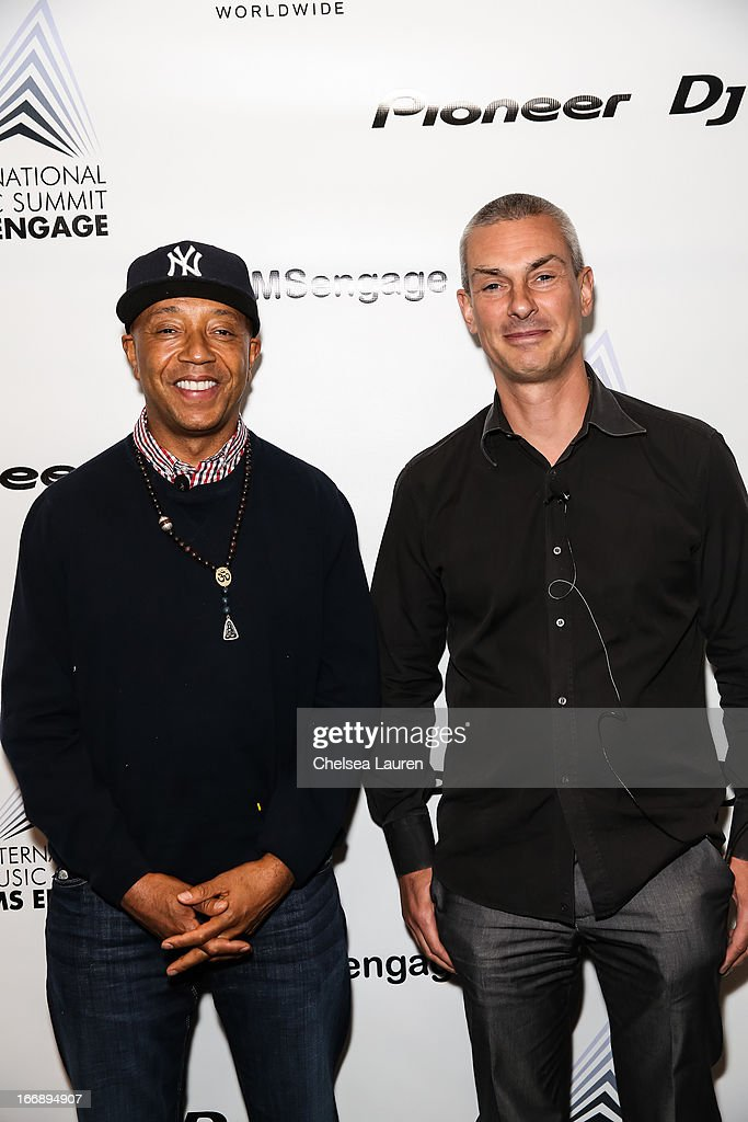 Founder of Def Jam Records Russell Simmons (L) and president of electronic music at Sony / founder of Ultra records Patrick Moxey attend IMS Engage in partnership with W Hotels Worldwide at W Hollywood on April 17, 2013 in Hollywood, California.