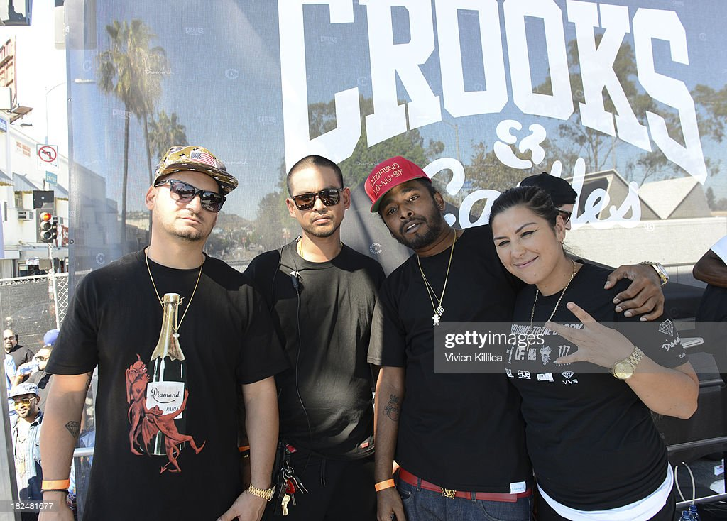 Founder of Diamond Supply Co Nicky Diamonds, co-founder of Crooks & Castles Robert Panlilio, Skeme and DJ Carisma attend Welcome To The Block presented by Crooks & Castles and Diamond Supply Co on September 29, 2013 in Los Angeles, California.