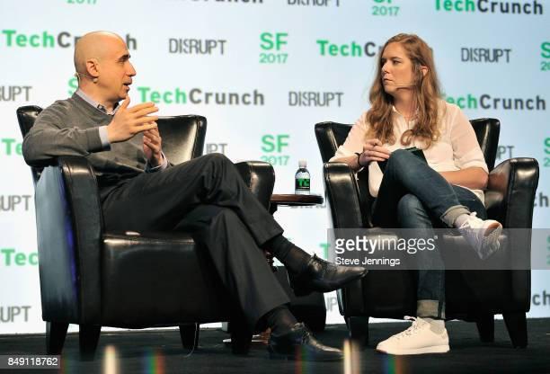 Founder of DST Global Yuri Milner and TechCrunch moderator Jordan Crook speak onstage during TechCrunch Disrupt SF 2017 at Pier 48 on September 18...