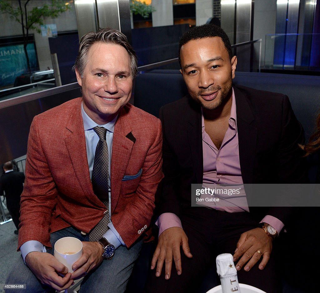 Founder of DuJour Media Group Jason Binn (L) and singer-songwriter John Legend attend DuJour Magazine and NYY Steak celebrating Chrissy Teigen with FENDI timepieces and Moet Ice on July 28, 2014 in New York City.