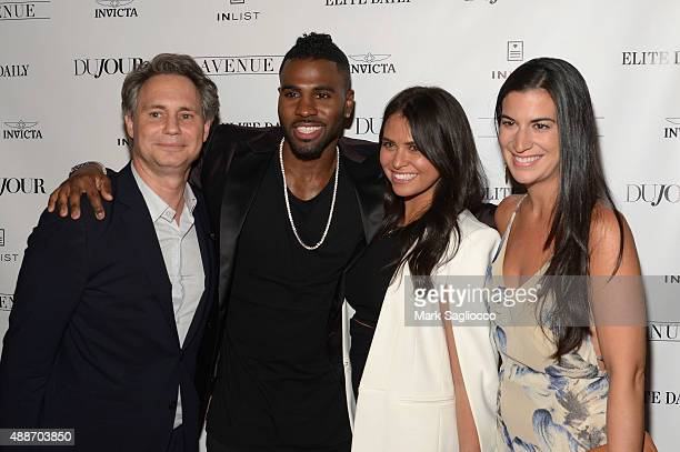 Founder of DuJour Media Jason Binn singer Jason Derulo Associate of Boies Schiller Flexner LLP Elan Nehleber and guest attend DuJour Magazine's Jason...