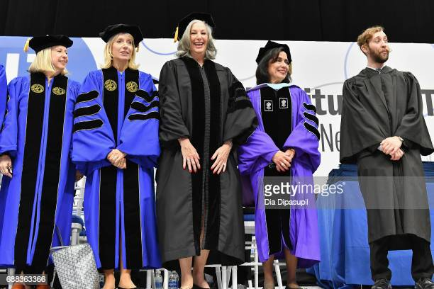 Founder of Essie Cosmetics Ltd Essie Weingarten and FIT President Dr Joyce F Brown stand on the stage during The Fashion Institute of Technology's...