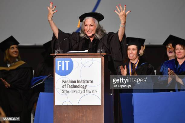 Founder of Essie Cosmetics Ltd Essie Weingarten speaks onstage during The Fashion Institute of Technology's 2017 Commencement Ceremony at Arthur Ashe...