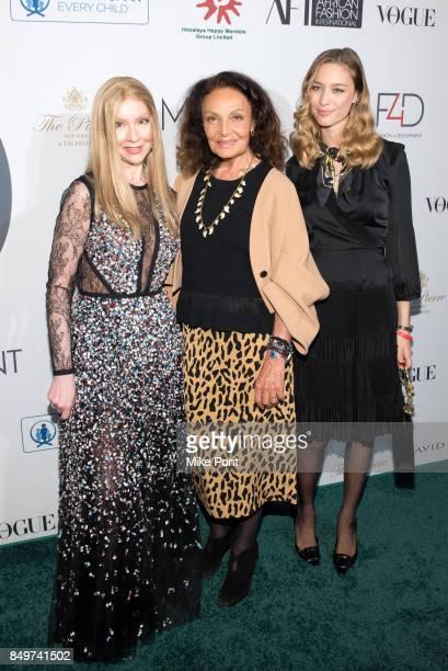 Founder of Fashion 4 Development Evie Evangelou Diane von Furstenberg and Beatrice Borromeo Casiraghi attend Fashion 4 Development's 7th Annual First...